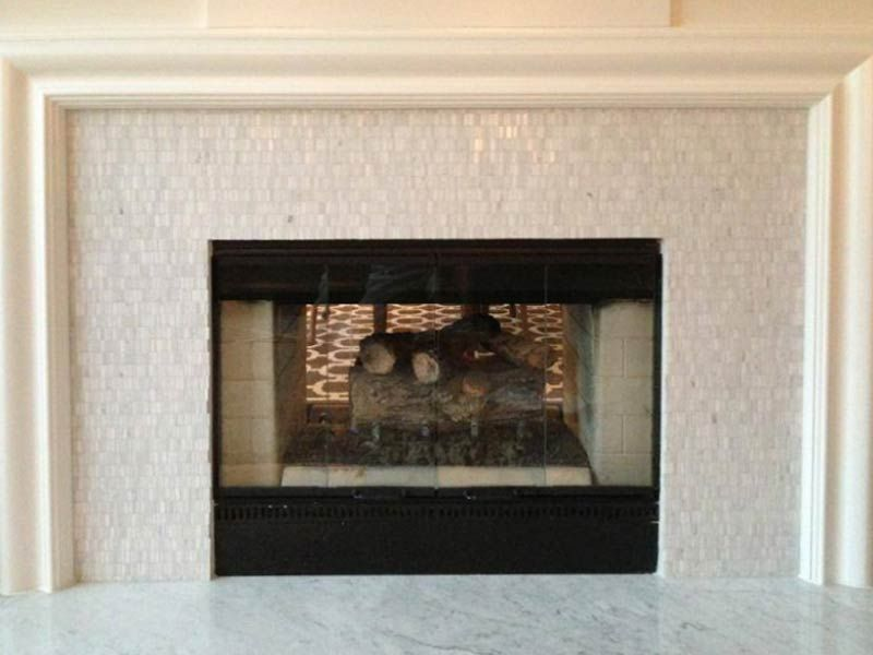 Elegant White Glass Tiled Fireplace Surround Glass Tile