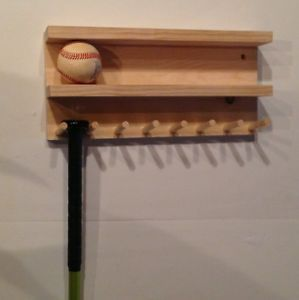 Custom Select Pine Wood Baseball Bat Rack Display Holds 8 Ball 7 Full Size Bats Baseball Bat Rack Baseball Bat Rack Display Baseball Bat Display
