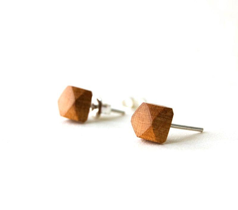 Wood Stud Earrings, Wooden Geometric Earring, Wooden Post Earrings ...
