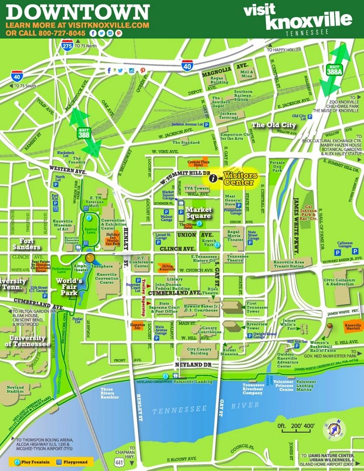 Knoxville tourist map Maps Pinterest Tourist map Usa cities