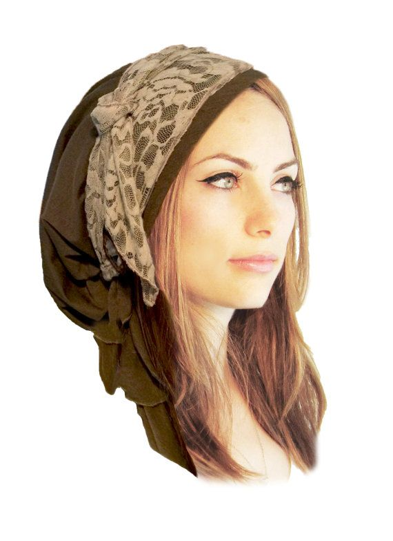 Olive Green Head Scarf Boho Chic Pre Tied Bandana Tichel Hair Snood ...