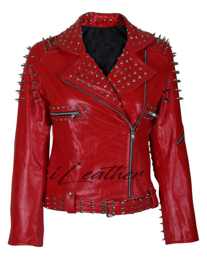 New Handmade Women S Red Fashion Studded Punk Style Etsy Red Jacket Leather Studded Leather Jacket Leather Jackets Women [ 995 x 794 Pixel ]