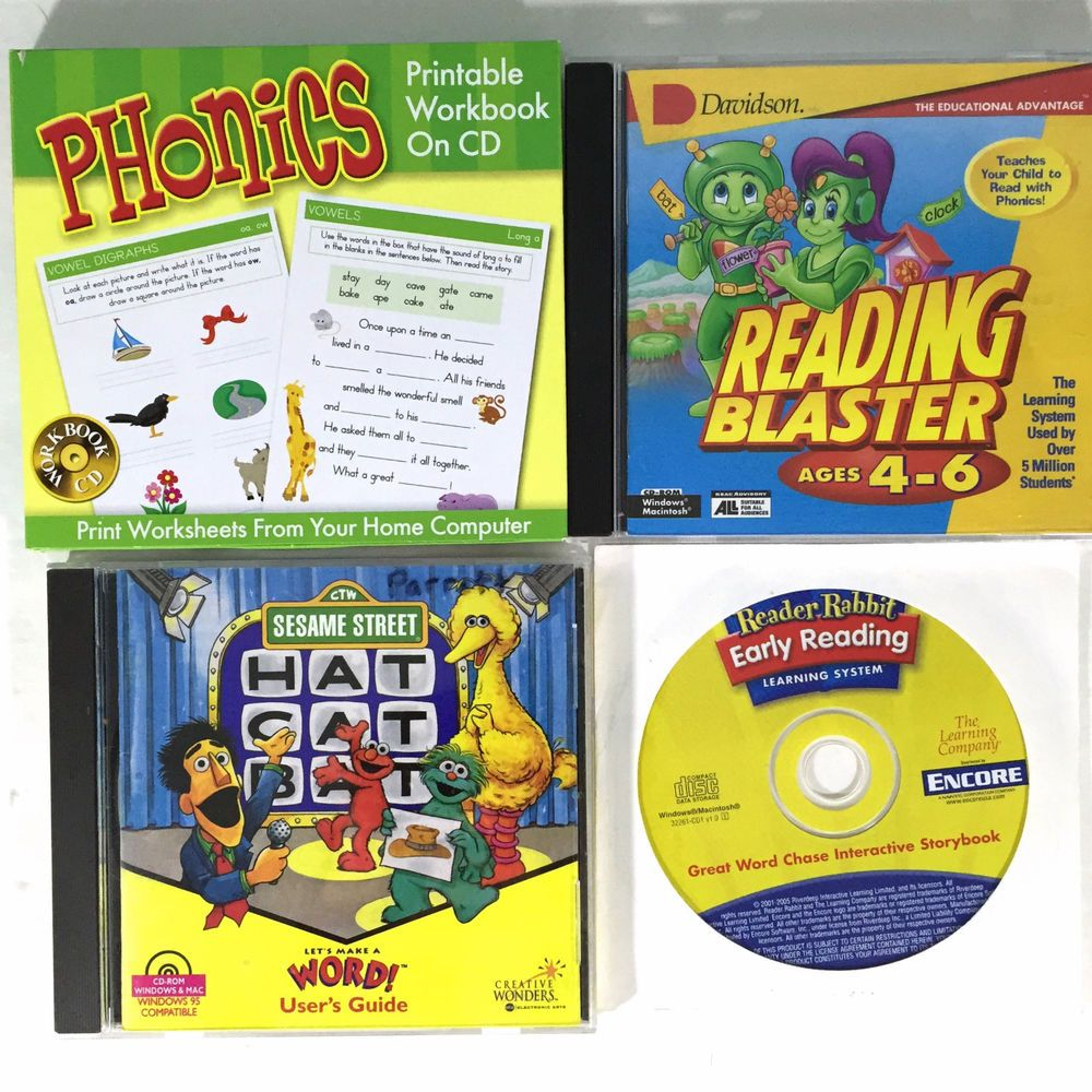 3 Early Reading Games Phonics Workbook PC CD's Win Mac Reader ...