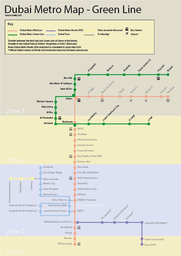Dubai Metro Green Line Map Stations And Route Station Metro