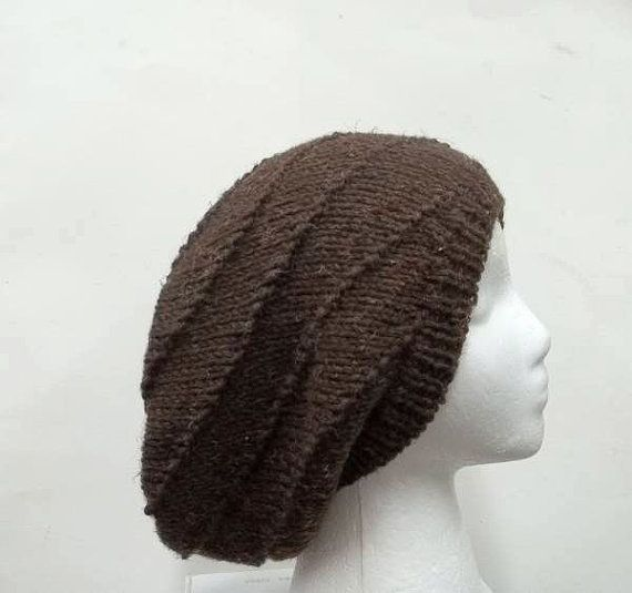 Slouchy beanie hat knitted swirl pattern men or by CaboDesigns HATS, all ha...