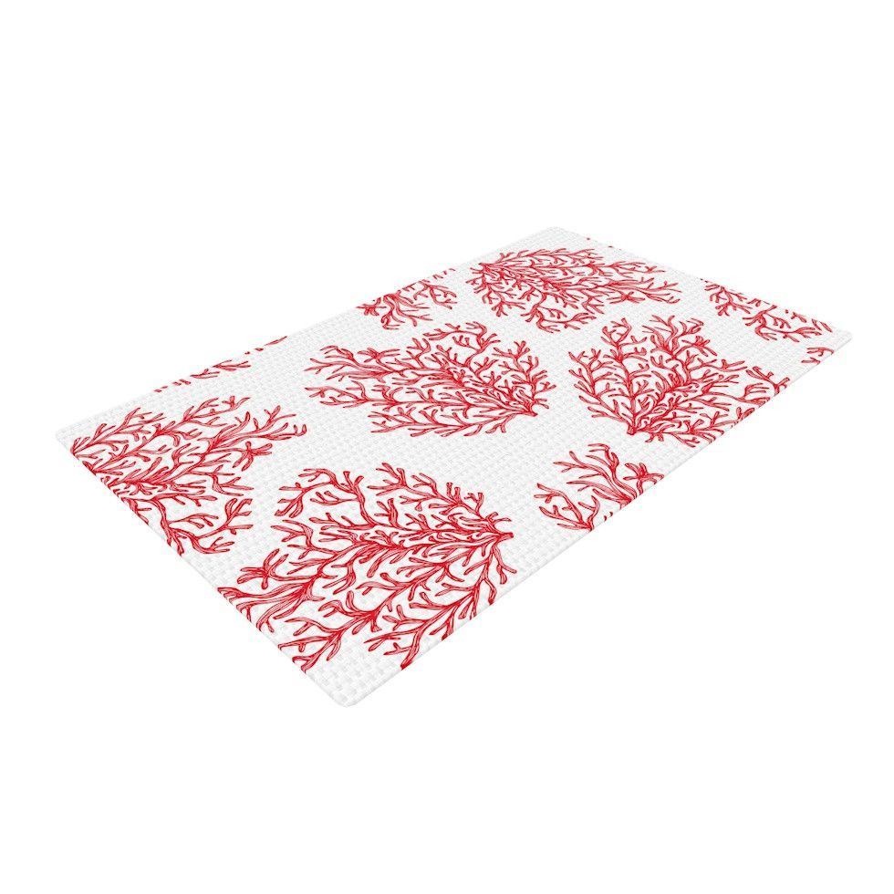 """Anchobee """"Coral"""" Red White Woven Area Rug"""