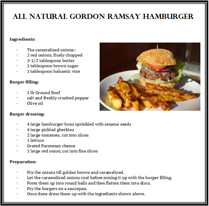 Opportunities To Beef It Up And The Decision Was Gordon Ramsay S Hamburgers With Fries While Searching For Tasty Recipes Ramsay Burger Recipe Food Recipes