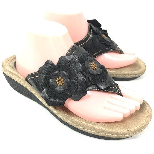 a5b8efea93946b Clarks Artisan Womens Sandals Black Floral Leather Sz 9.5 Comfort Slip On  Thongs  Clarks  FlipFlops  Casual