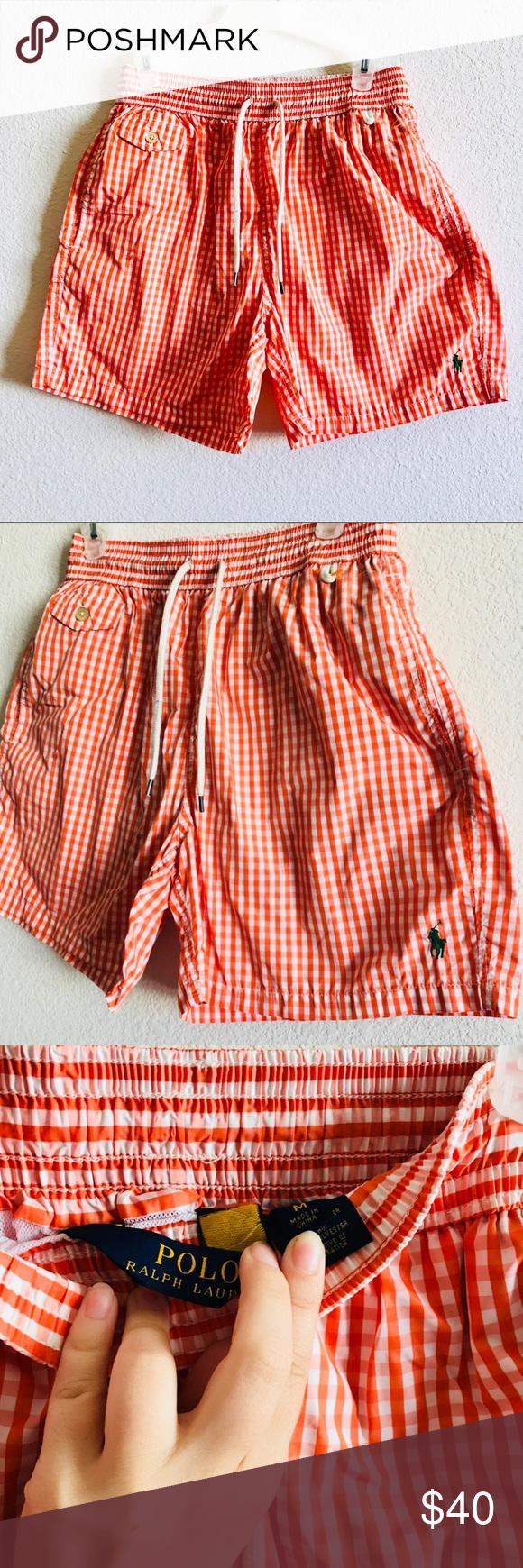 028223b9ee47 ... get vintage polo ralph lauren checkered swim shorts vintage polo by ralph  lauren checkered orange and
