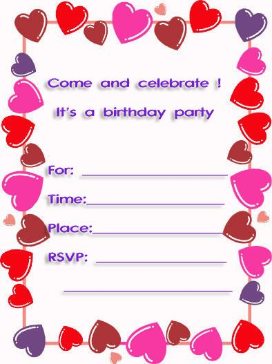 Sweet Hearts Free Printable 10th Birthday Party Invitations Printfreecards