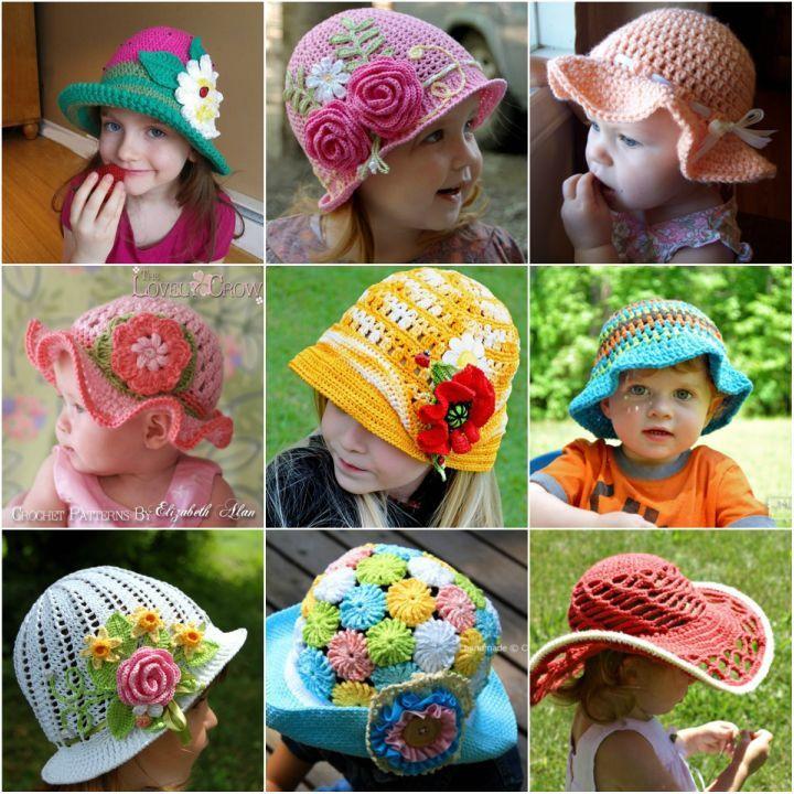 20 Fab Art DIY Crochet Girl\'s Sun Hat with Pattern | crochet ...
