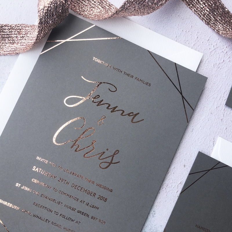 Grey With Rose Gold Foil Minimal Luxe Wedding Invitations
