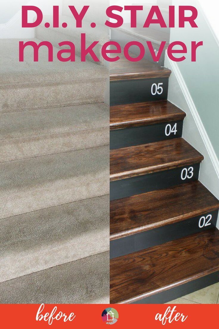 DIY Staircase Makeover Pinterest Removing carpet Wood stair