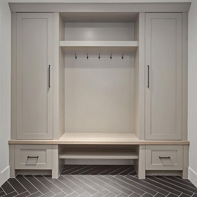Grey Mudroom Cabinet And Herringbone Tile