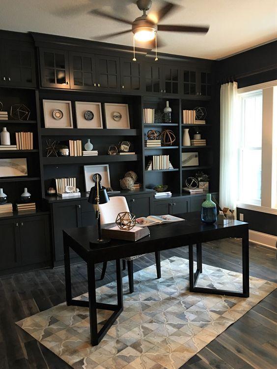 Home office space design decor vintage also inspiring farmhouse bookshelf ideas rh pinterest