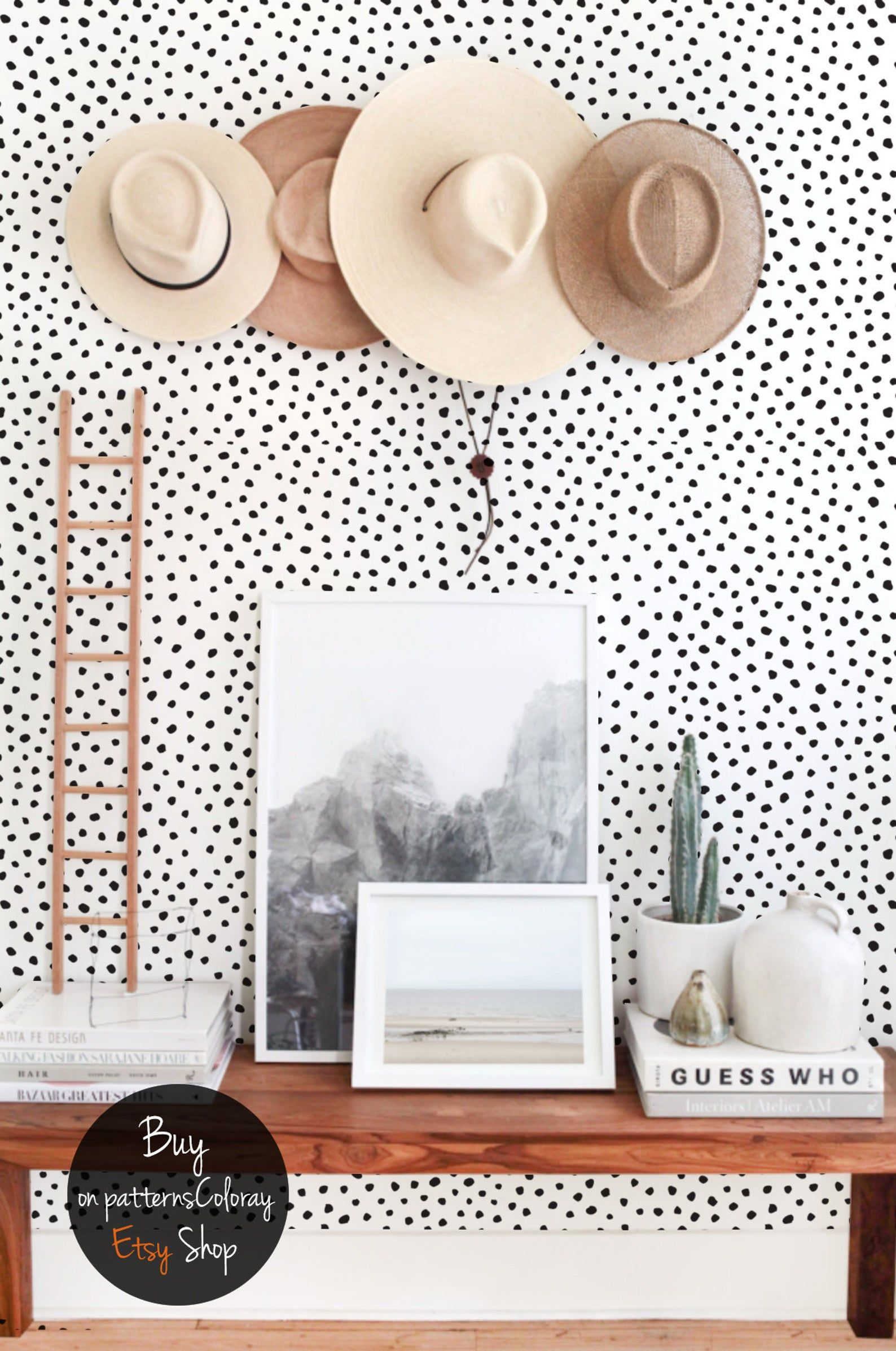 Black Dots Wallpaper Black And White Minimalistic Removable Etsy In 2020 Dots Wallpaper Accent Wall Bedroom Nursery Wallpaper