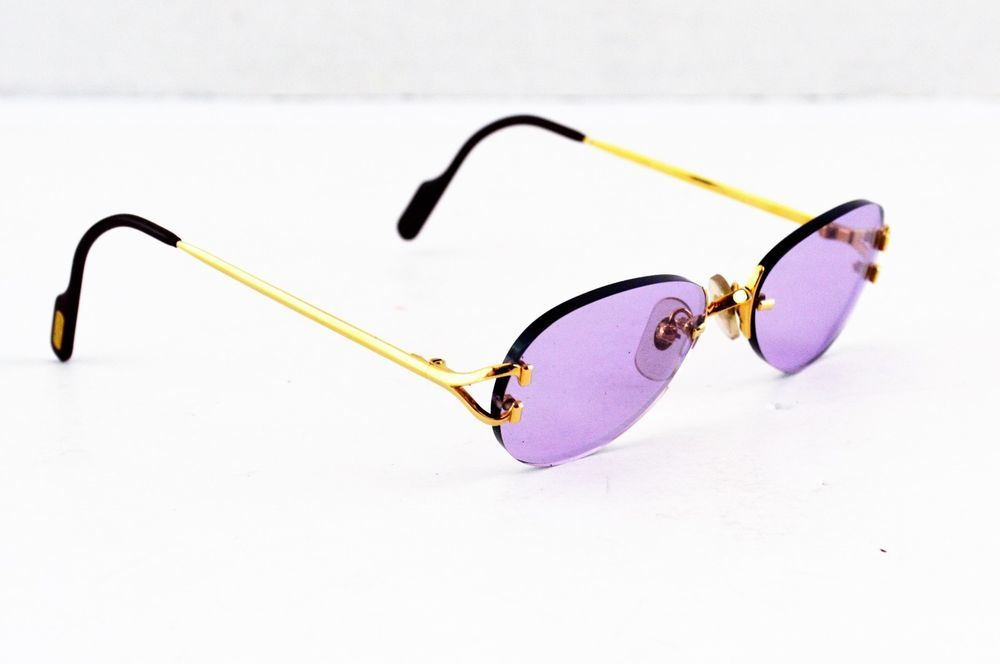 81842b8e4bce6 Auth Cartier C Decor Gold Frame Purple Lens Sunglasses 130 18  Cartier   Rectangular
