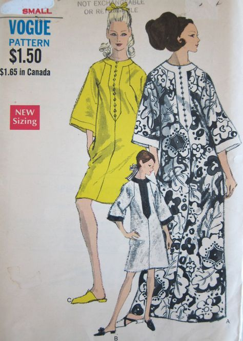 60s Vogue 7295 Caftan Dress Vintage Sewing Pattern 1960s Kaftan ...