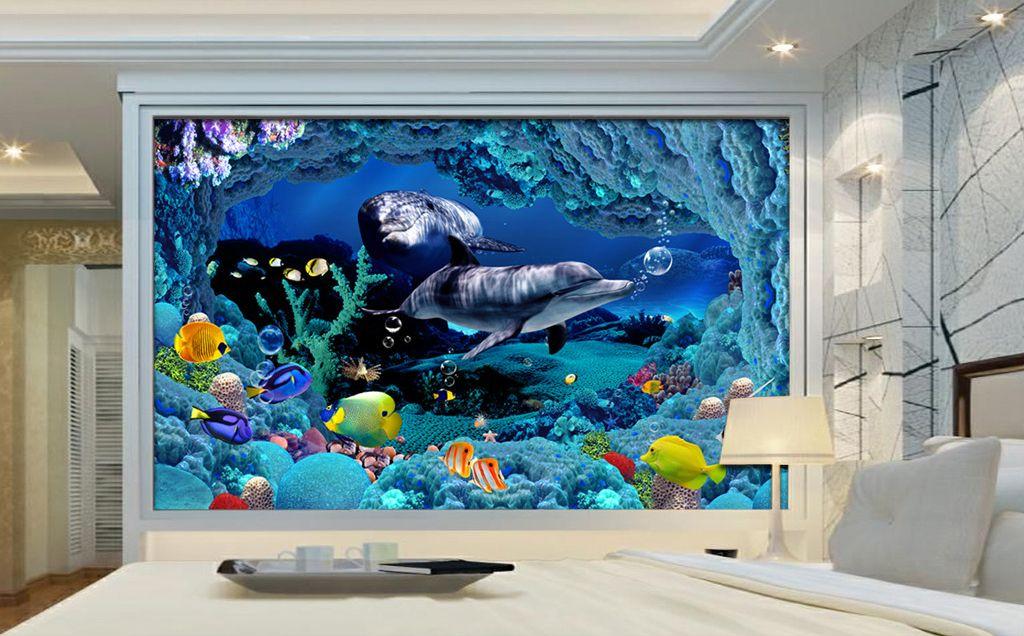 papier peint effet 3d paysage fond marin avec les dauphins fond marin les dauphins et. Black Bedroom Furniture Sets. Home Design Ideas