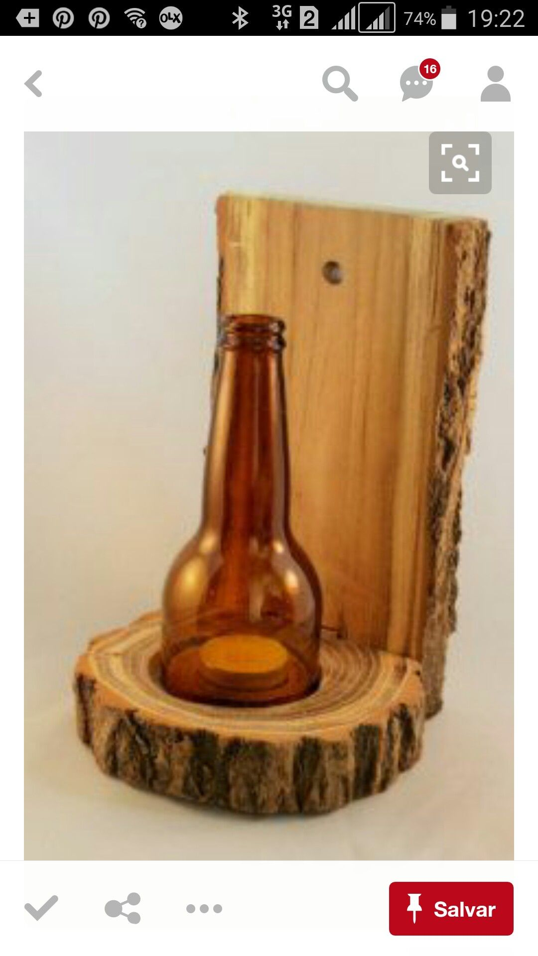Hand crafted wooden candle holder with brown round cut bottle glass top One  candle openings. Measurements: x base diameter x