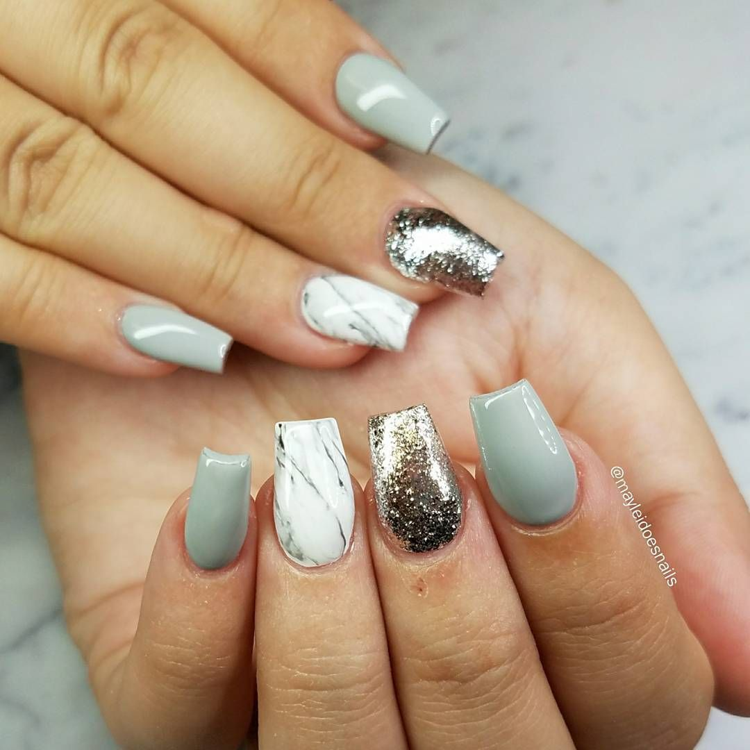 Jade silver white marble short coffin nails