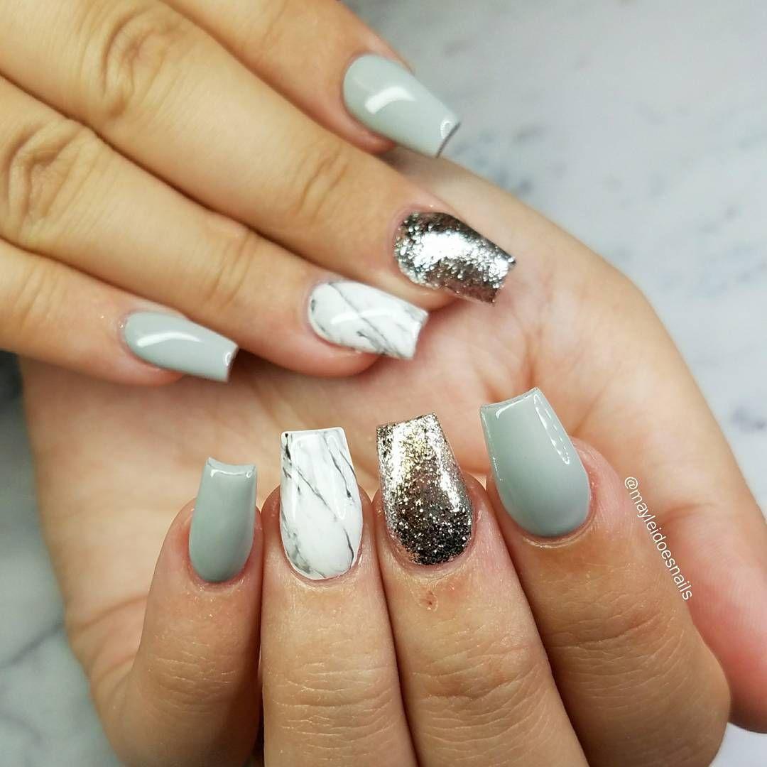 Jade silver white marble short coffin nail art desgin - nail art design #nail #nails #nailart #coffinnail #marblenail