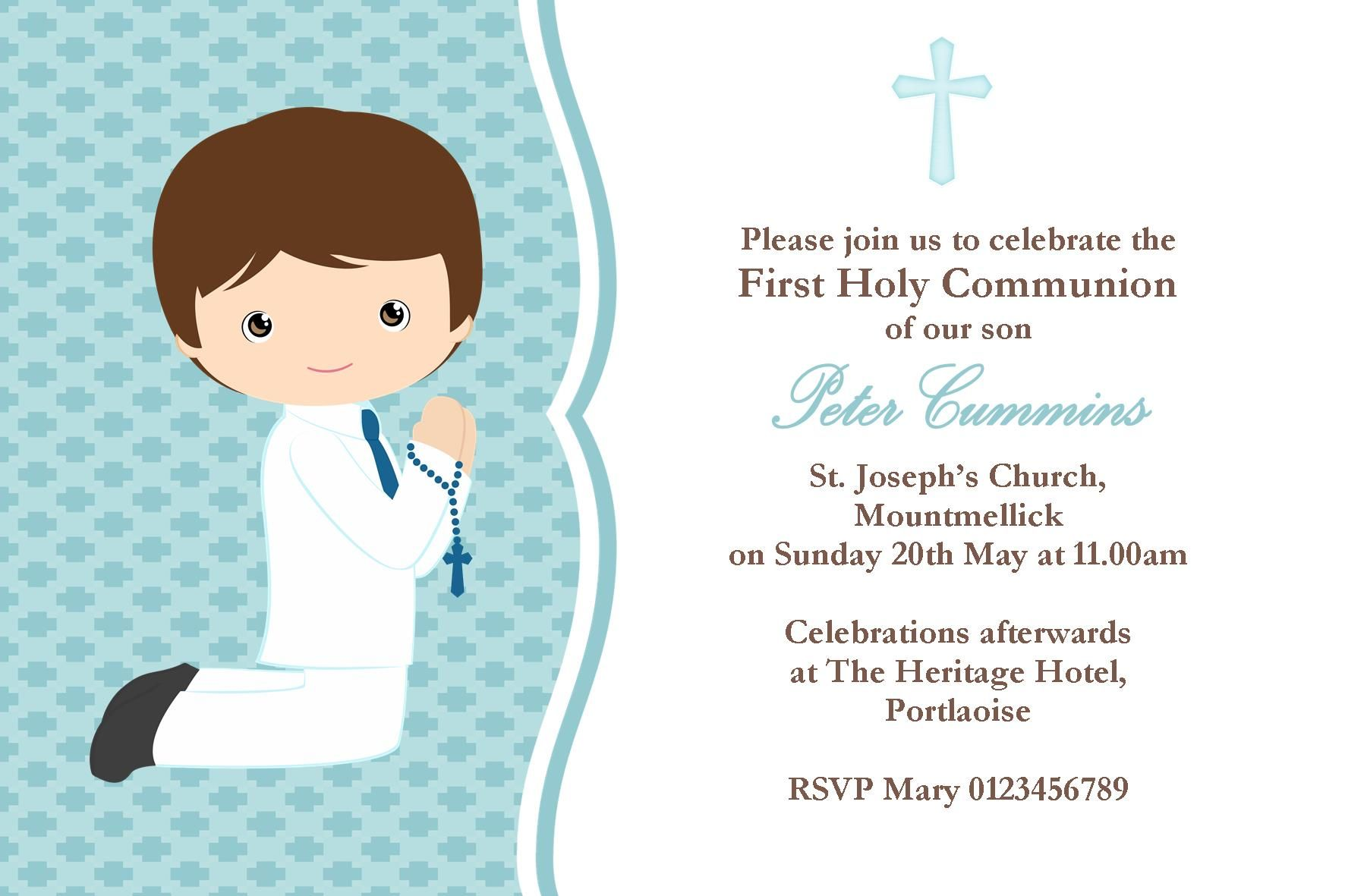 10 Personalised 1st First Holy Communion Invitations Boy Girl