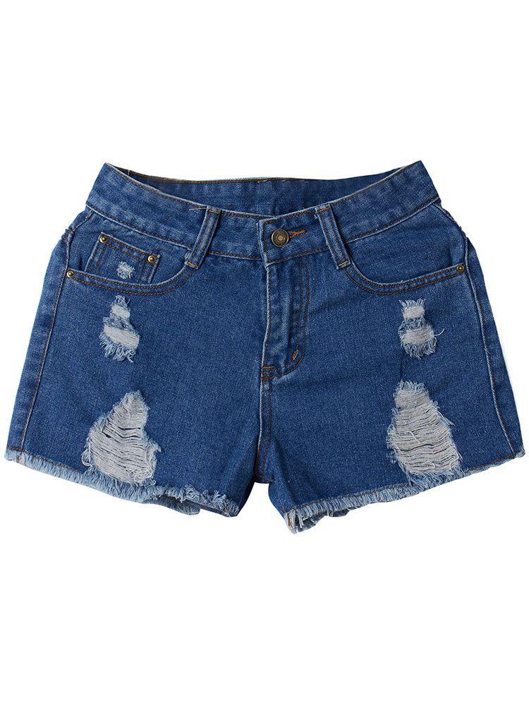 Street High Waist Ripped Hole Tassel Women Casual Denim Shorts