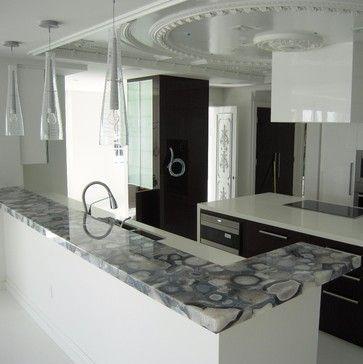 Grey Agate Countertop Semi Precious Modern Kitchen