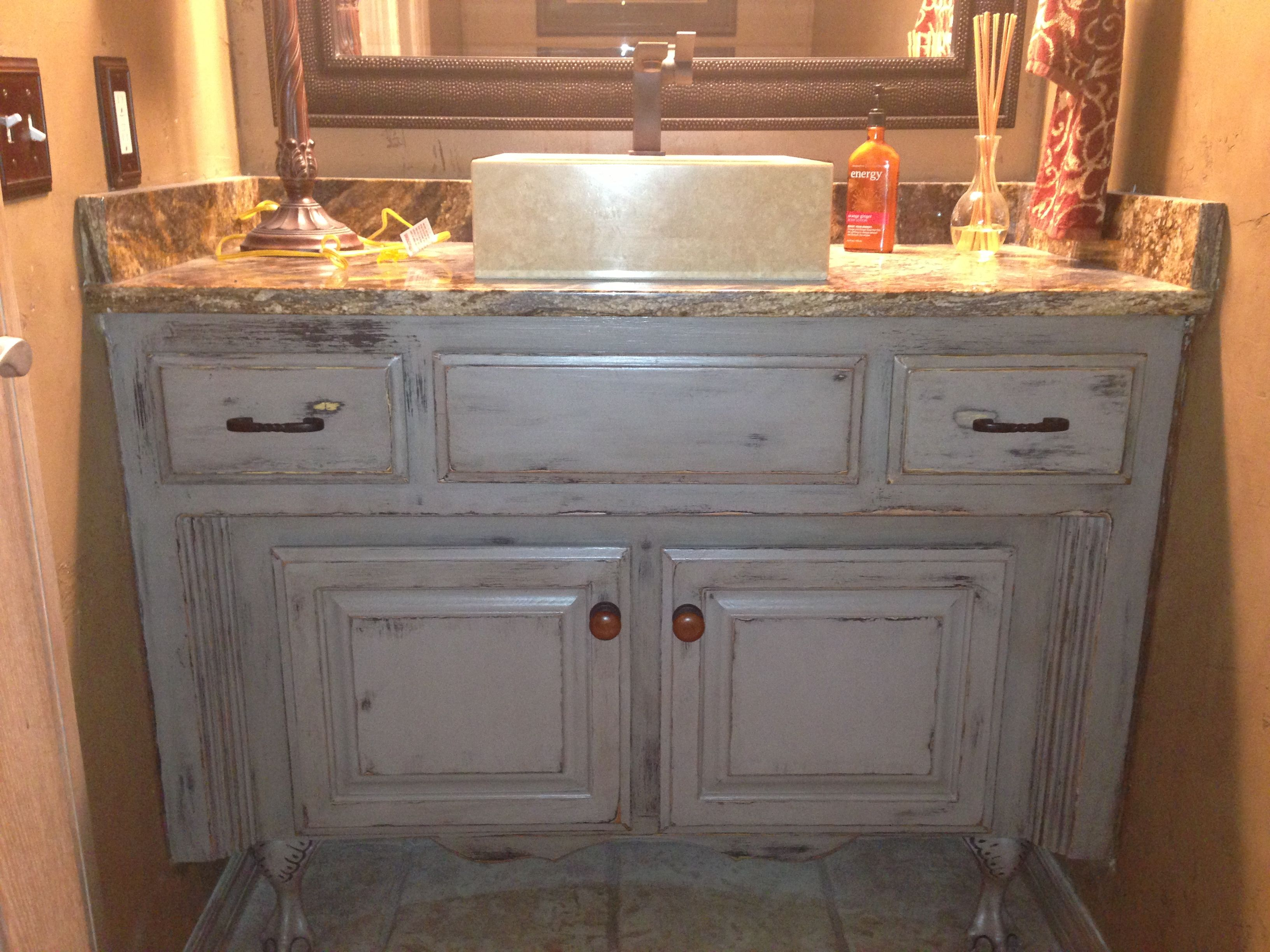 Painting And Distressing Bathroom Cabinets painted, glazed, distressed bathroom vanity. started with graphite