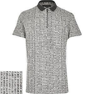 f3cec5669ddce Grey chunky zip-up polo shirt   RIVER ISLAND - PLAIN   Shirts, Polo ...