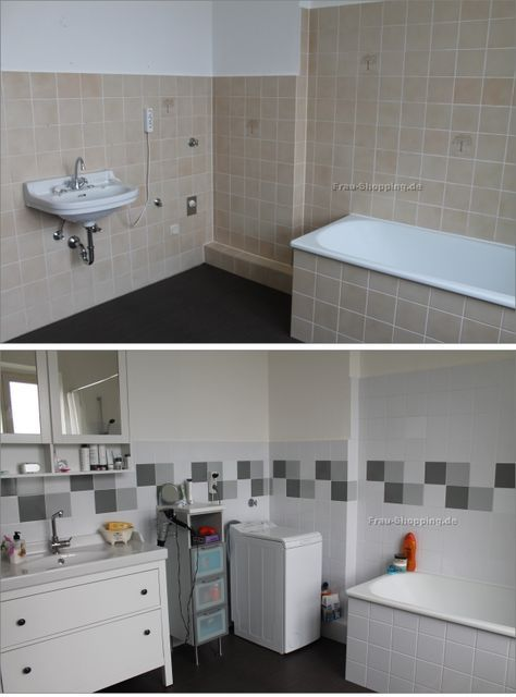 Mein Badezimmer - vorher Nachher - mit Fliessenaufkleber idee - fliesenspiegel küche überkleben