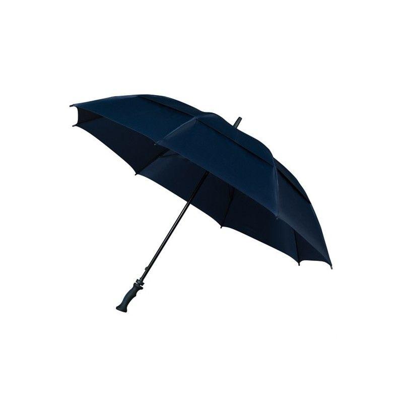 Grand parapluie de golf résistant au vent pour sortir sereinement par temps de pluie.  Ouverture manuelle, poignet droit en gomme.  Parapluie à 8 baleines à double baleinage, armature double très résistant en fibre de verre.  Parapluie présenté dans une housse transparente en PVC.  96 cm de long, 130 cm de diamètre.  100% polyester.     Disponible en 2 coloris