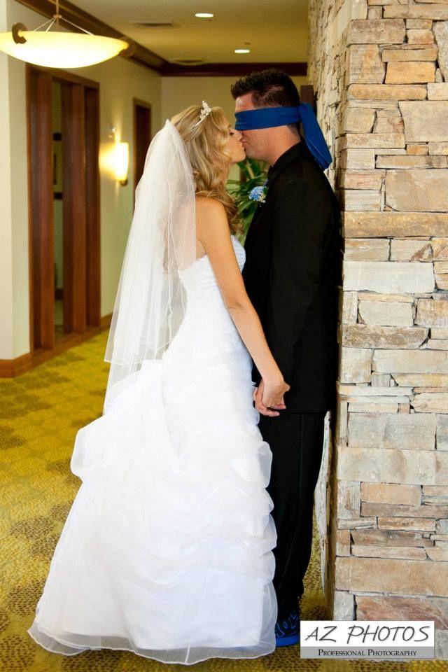 Bride Kisses Blindfolded Groom Before Ceremony