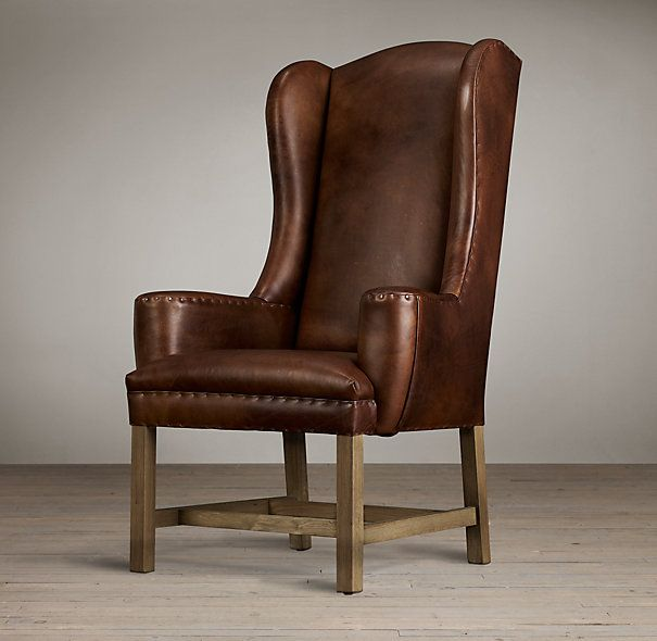 Belfort Wingback Leather Dining Chair, Restoration Hardware
