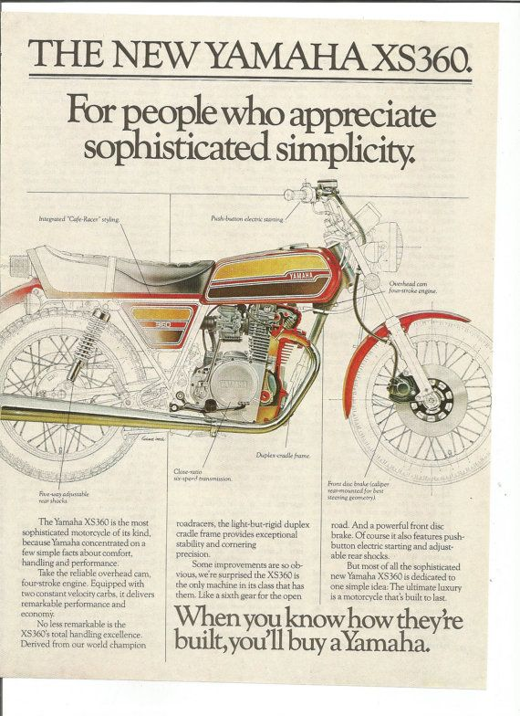 1976 Advertisement Yamaha XS360 Motorcycle Drawing Diagram Red ...