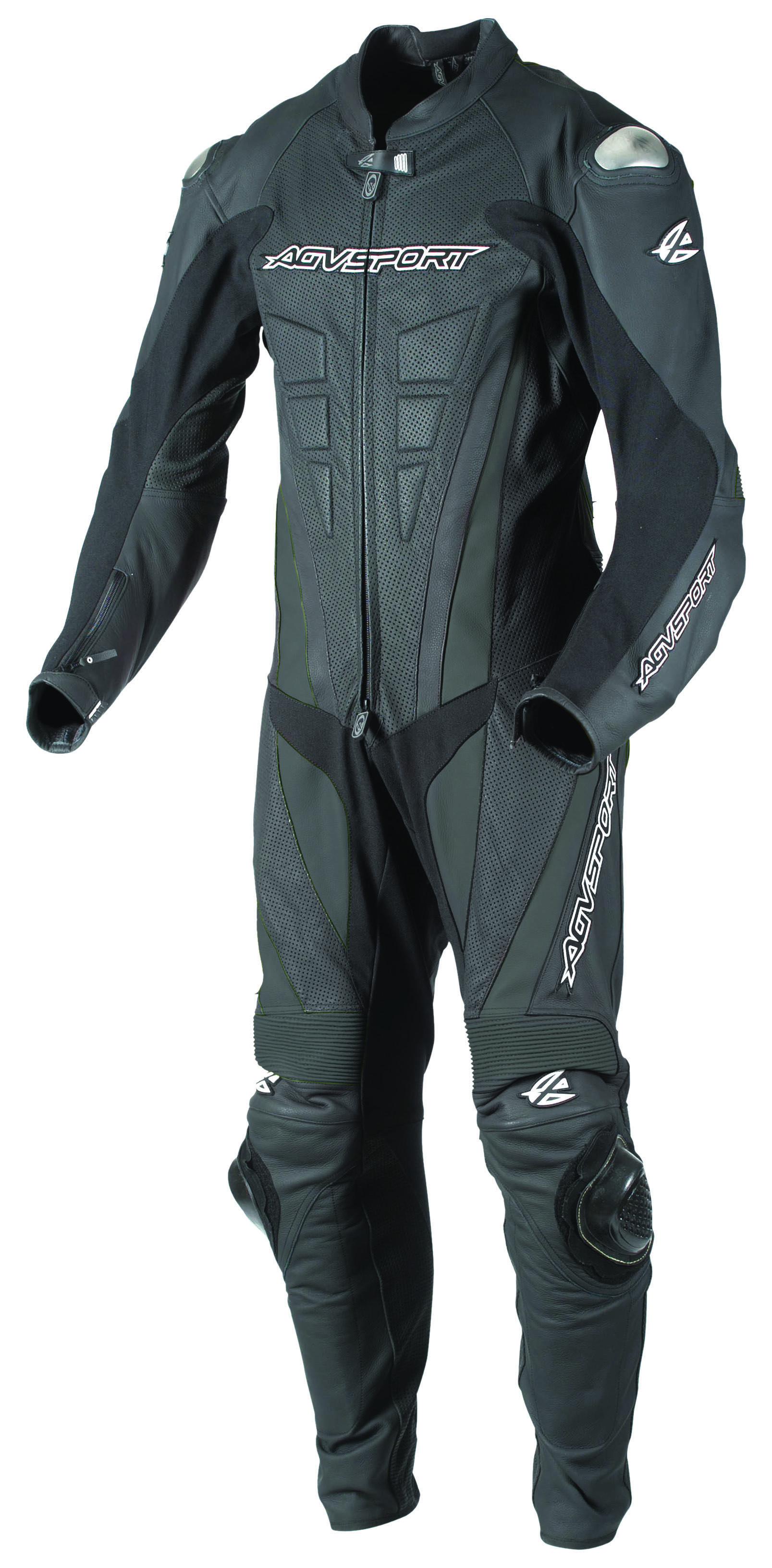 AGVSPORT Bullet (Black) 1-Piece Leather Suit A simpler design ideal for  track day and recreation riders. Produced of premium 1.3mm(body) to  1.4mm(impact ...