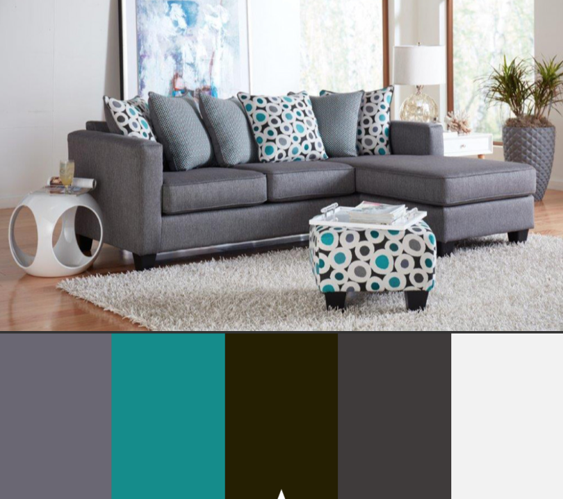 Booyah Silver Sectional Collection Black Living Room Decor