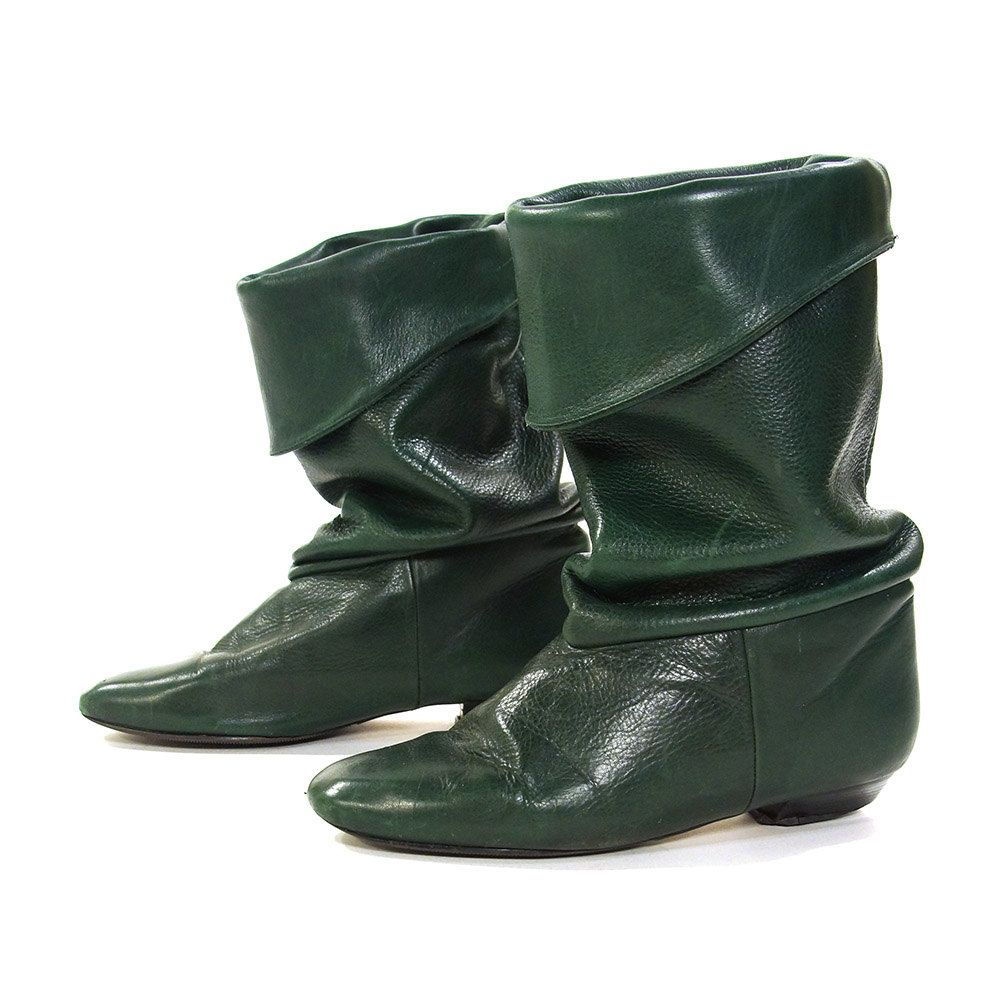 c94891bacfe03 80s Green Leather Pirate Boots / Vintage 1980s Butter Soft Slouchy ...