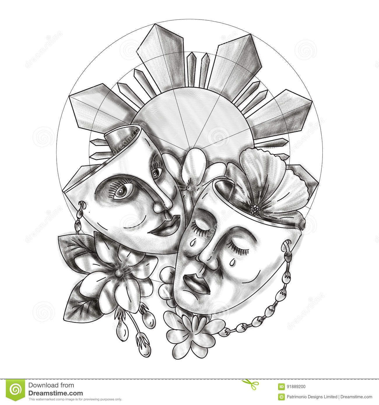 Drama Mask Hibiscus Sampaguita Flower Philippine Sun