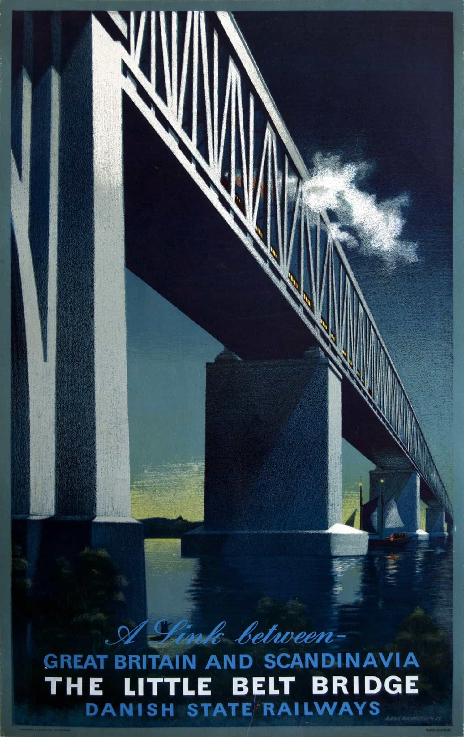 Vintage Railway Poster: The Little Belt Bridge, Danish State Railways classic, high resolution, old, retro, transportation, travel, vintage #VintageTravelPosters