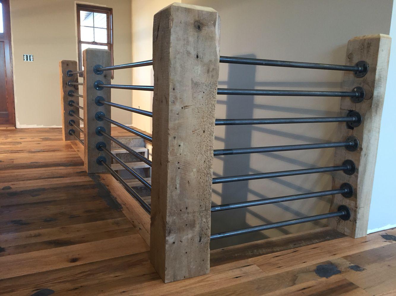 Pin On Reclaimed Rustic Oak Barn Wood Floor | Gas Pipe Stair Railing