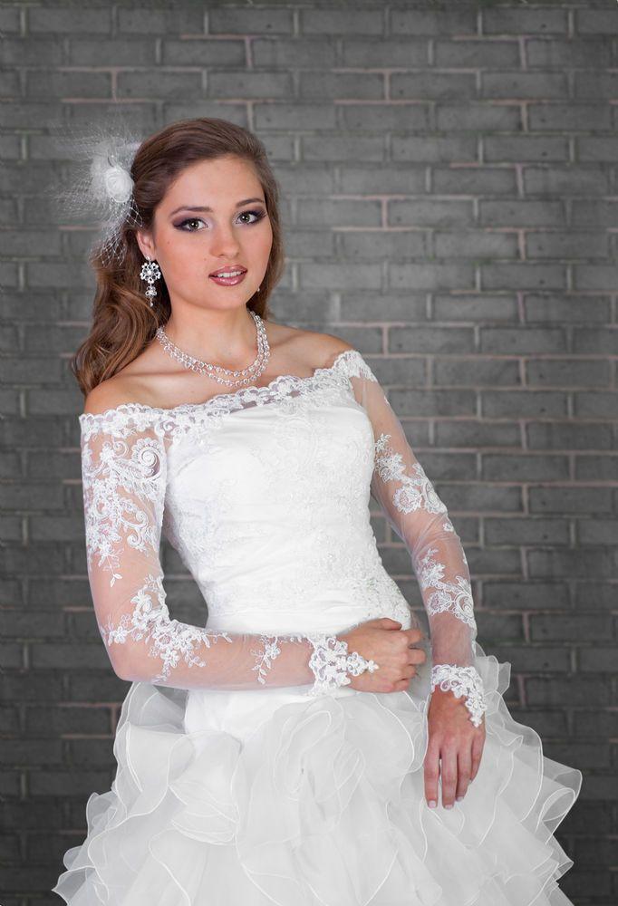 Bridal Ivory/White Lace Bolero Shrug Wedding Jacket Long Sleeve S ...