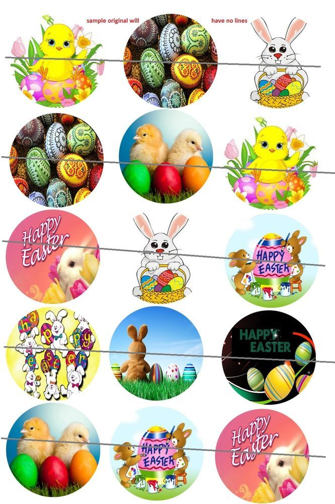 Easter theme 30 Precut Bottlecaps Images 1 inch Circle bunny chick