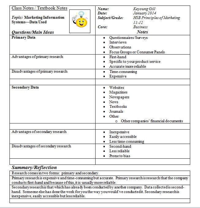 Cornell Notes for primary and secondary data in Marketing - sample cornell note