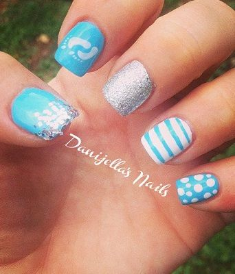 Baby Shower Nails Cute Nails Baby Shower Nails Baby Boy Nails