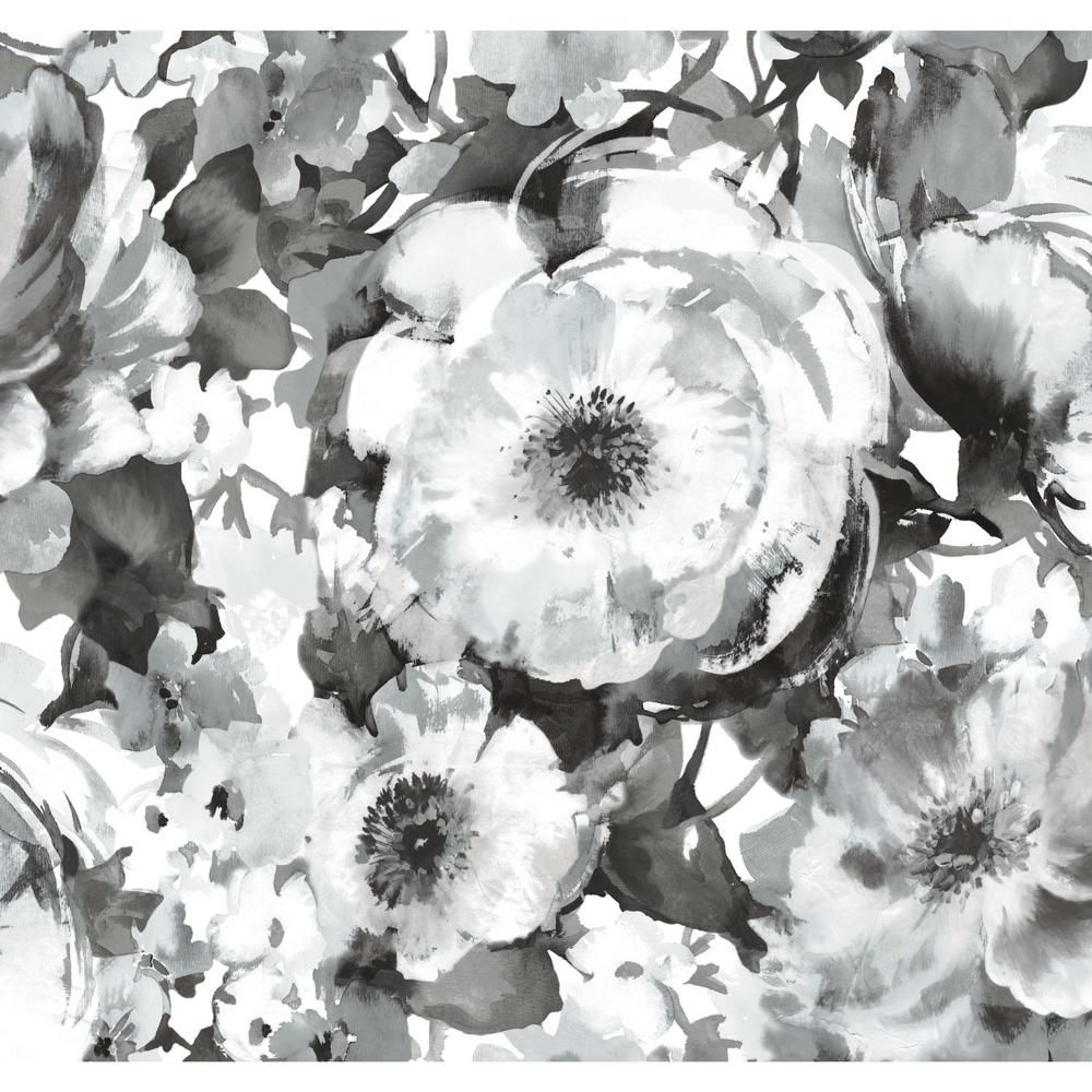 Roommates 60 Sq Ft Watercolor Floral Peel And Stick Wallpaper Black White Peel And Stick Wallpaper Mural Wallpaper Floral Watercolor