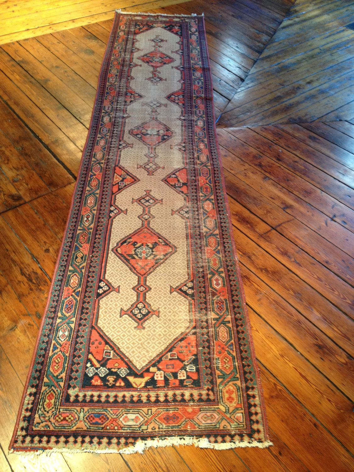 Distressed Antique Hamadan Oriental Rug