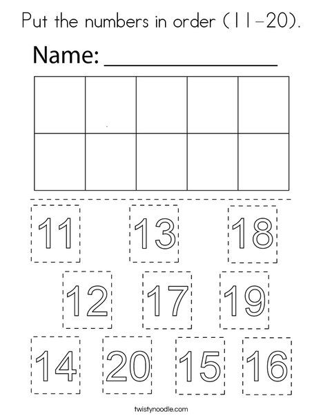 Put the numbers in order (11-20) Coloring Page - Twisty ...