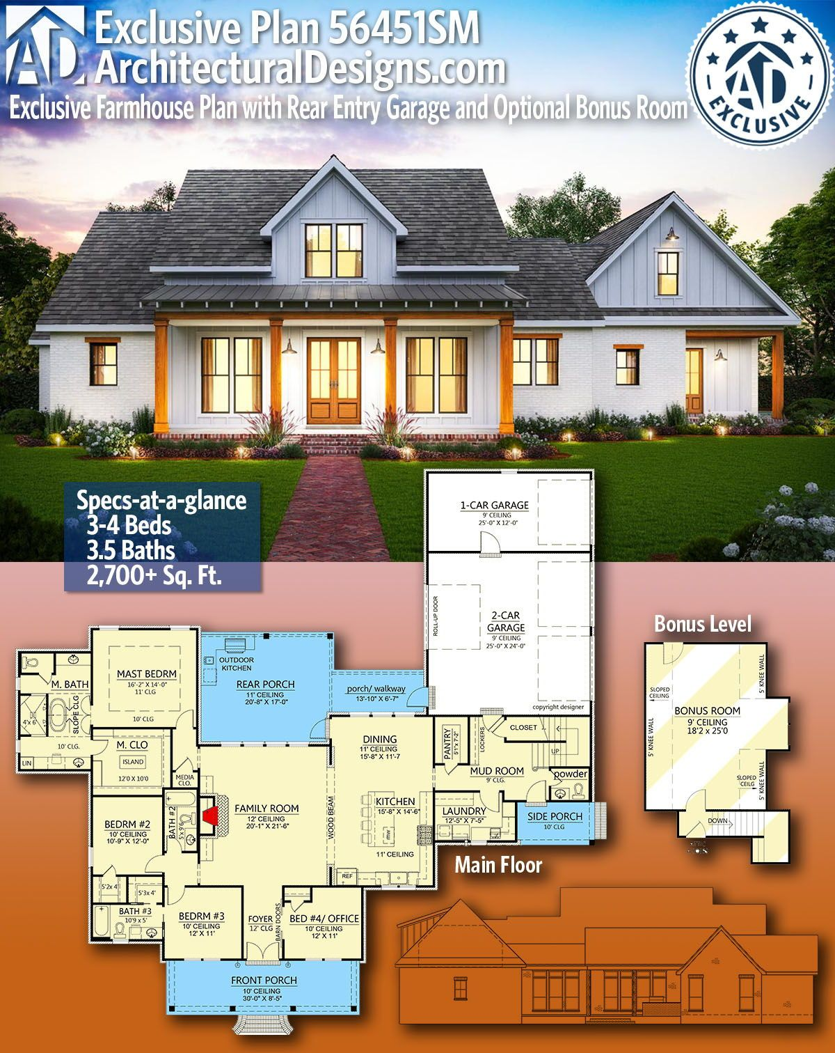 Plan 56451sm Exclusive Farmhouse Plan With Rear Entry Garage And Optional Bonus Room Farmhouse Plans House Plans Farmhouse New House Plans